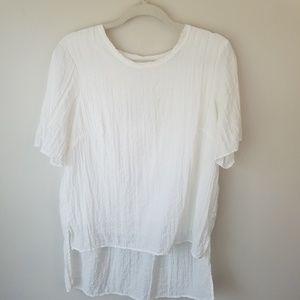Ro & de white textured grid hi lo blouse